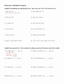 Distributive Property with Variables Worksheet Fresh Distributive Property Worksheet for 8th 9th Grade