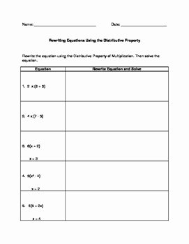 Distributive Property with Variables Worksheet Lovely Rewriting & solving Equations Using the Distributive