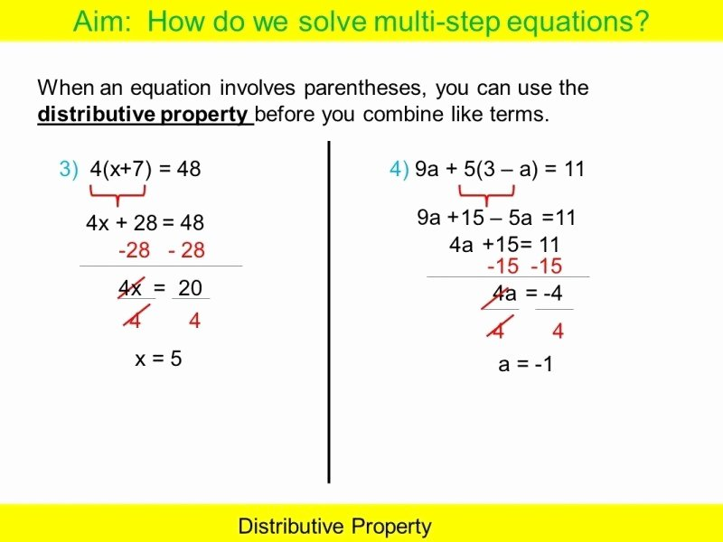 Distributive Property with Variables Worksheet New Multi Step Equations Worksheet Pdf Free Printable Worksheets