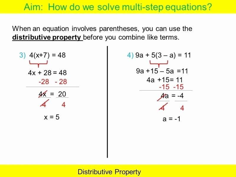 Distributive Property with Variables Worksheet New Multi Step Equations Worksheet Pdf Free Printable Worksheets
