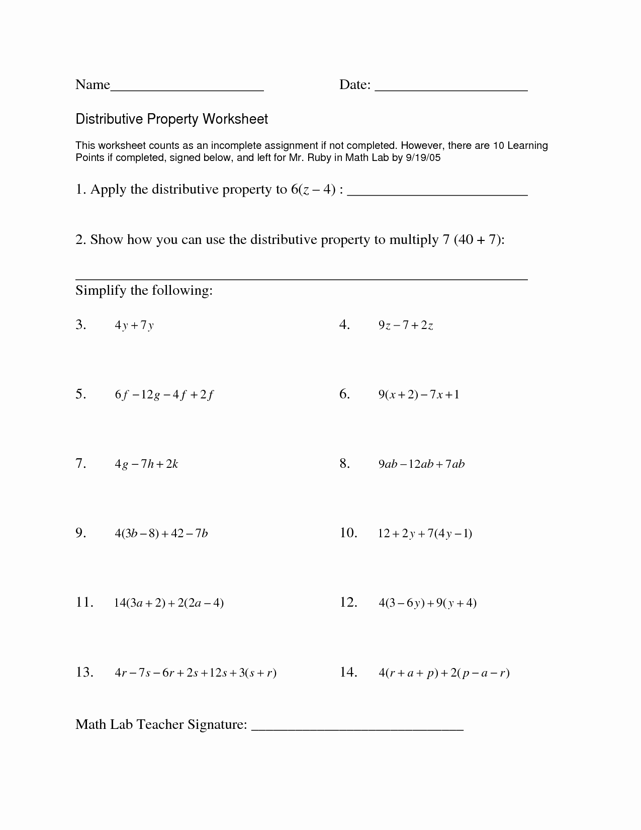 Distributive Property with Variables Worksheet Unique 15 Best Of Distributive Property Worksheets Grade 7