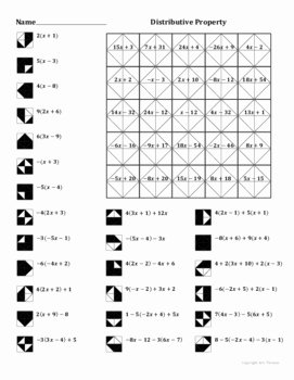 Distributive Property Worksheet Answers Awesome Distributive Property Coloring Worksheet by Aric Thomas