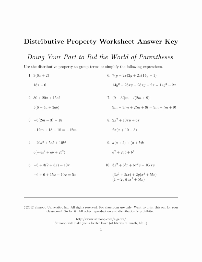 Distributive Property Worksheet Answers Fresh Distributive Property Answers