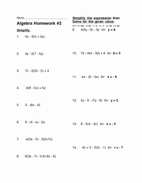 Distributive Property Worksheet Answers Luxury Algebra Homework 2 Distributive Property Worksheet for