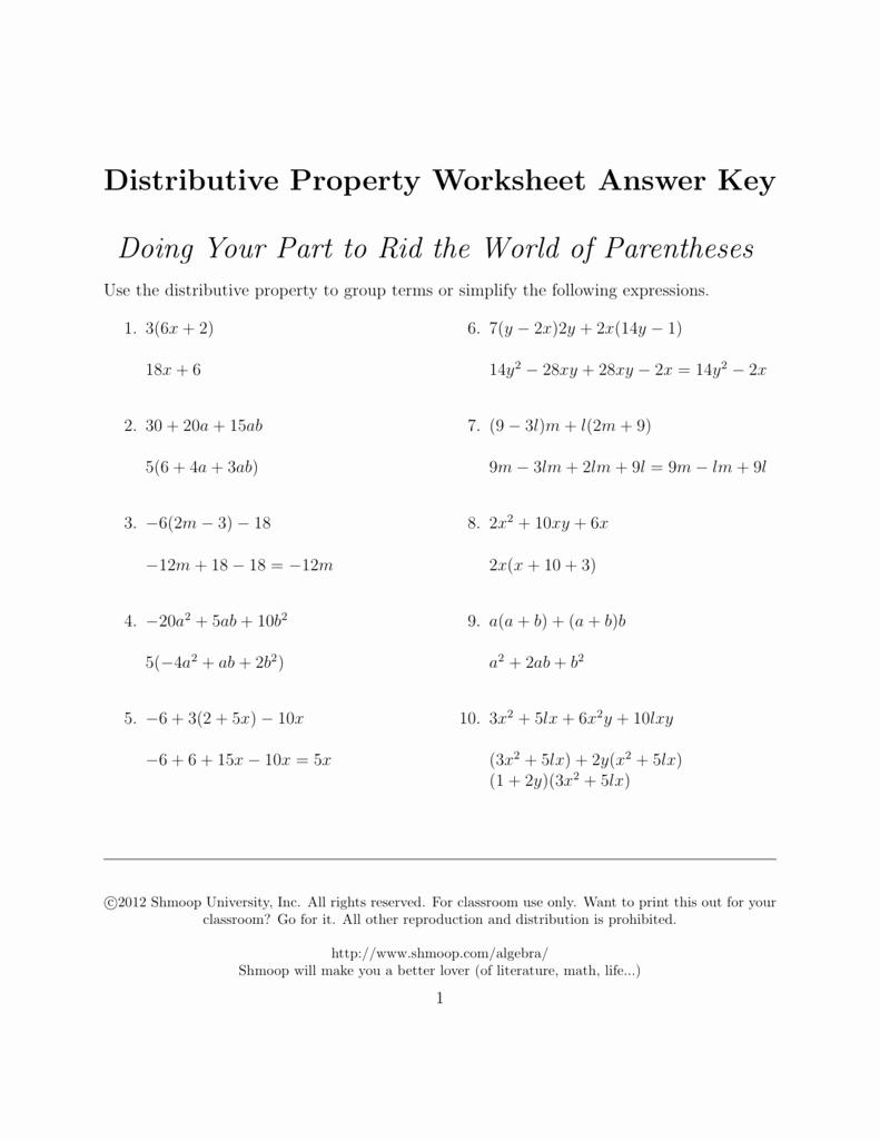 Distributive Property Worksheet Answers New Distributive Property Answers