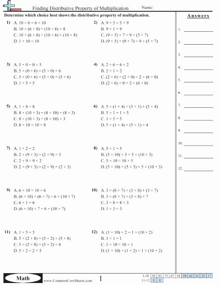 Distributive Property Worksheet Pdf Beautiful Distributive Property Worksheets
