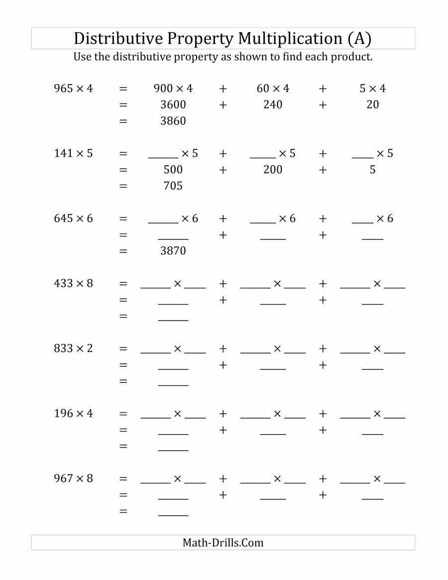 Distributive Property Worksheet Pdf Best Of Multiply 3 Digit by 1 Digit Numbers Using the Distributive