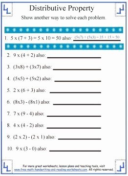 Distributive Property Worksheet Pdf Elegant Distributive Property Worksheet 1