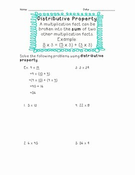 Distributive Property Worksheet Pdf Fresh 3rd Grade Mon Core Distributive Property Worksheet by