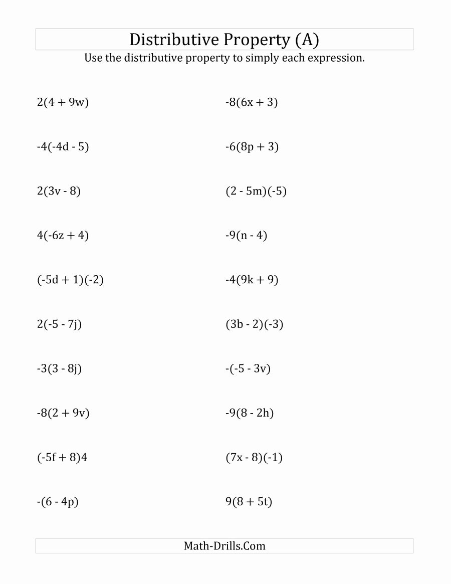 Distributive Property Worksheet Pdf Fresh Using the Distributive Property Answers Do Not Include