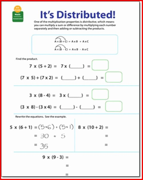 Distributive Property Worksheet Pdf Inspirational Distributive Property Multiplication Worksheets 3rd