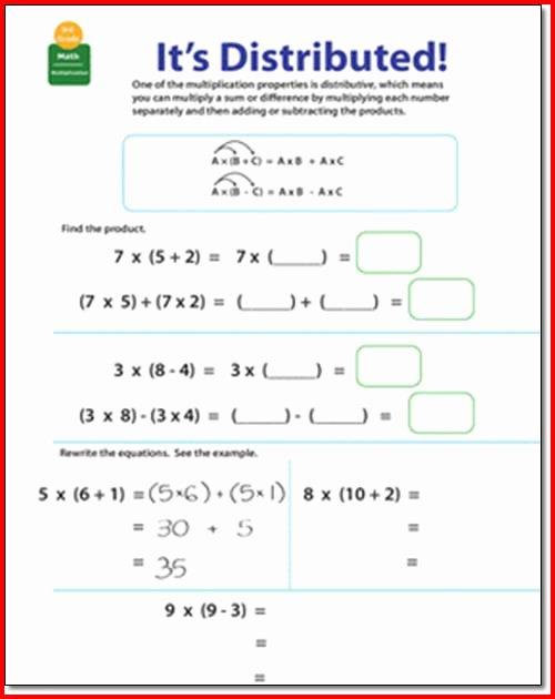 Distributive Property Worksheet Pdf Inspirational Distributive Property Multiplication Worksheets 3rd