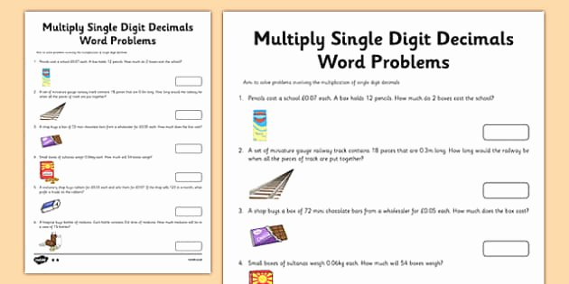 Dividing Decimals Word Problems Worksheet Elegant Year 6 Multiply Single Digit Decimals Word Problems