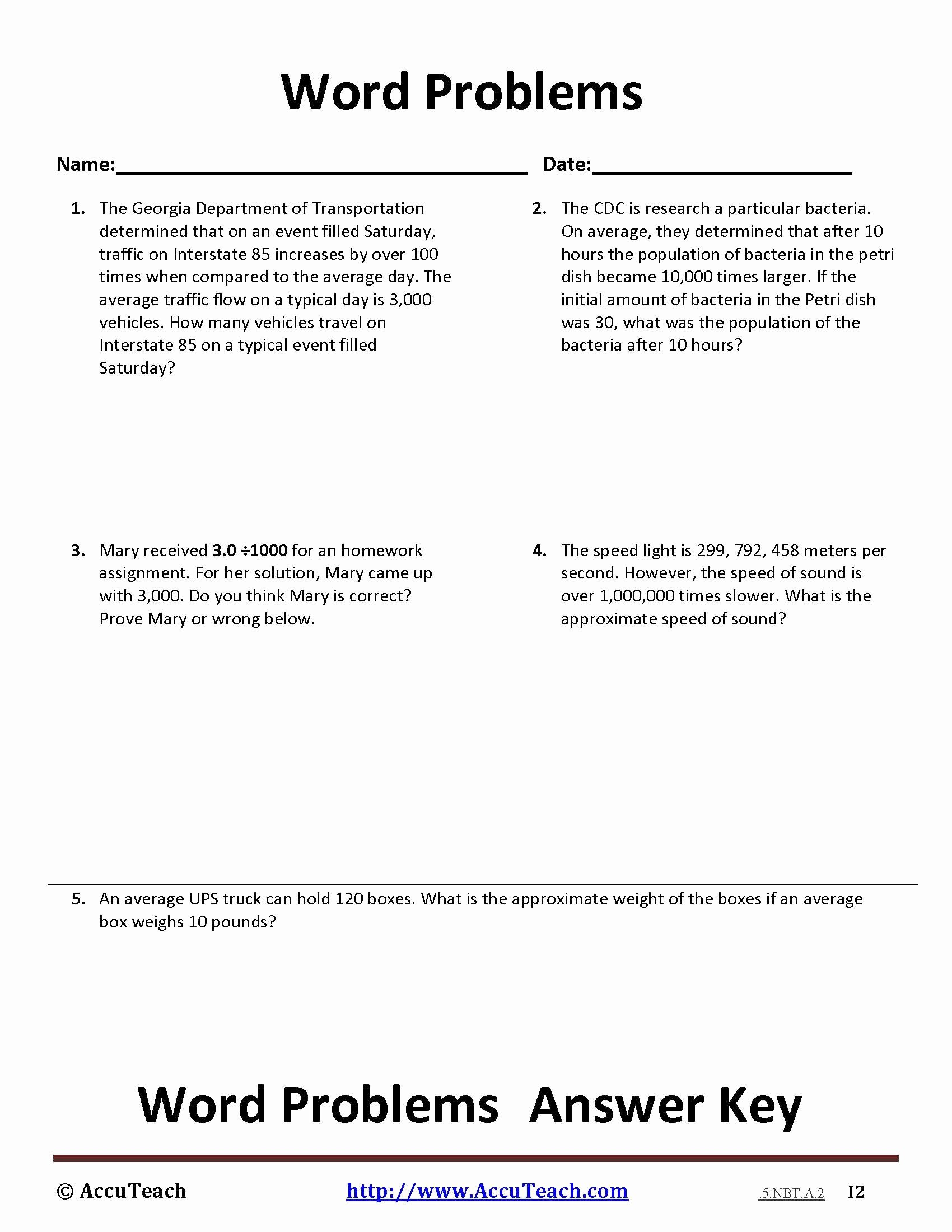Dividing Decimals Word Problems Worksheet Lovely Multiplying and Dividing by 10 100 and 1000 Word Problems