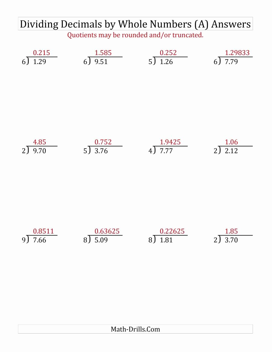 Dividing Decimals Worksheet Pdf Beautiful Dividing Hundredths by A whole Number A