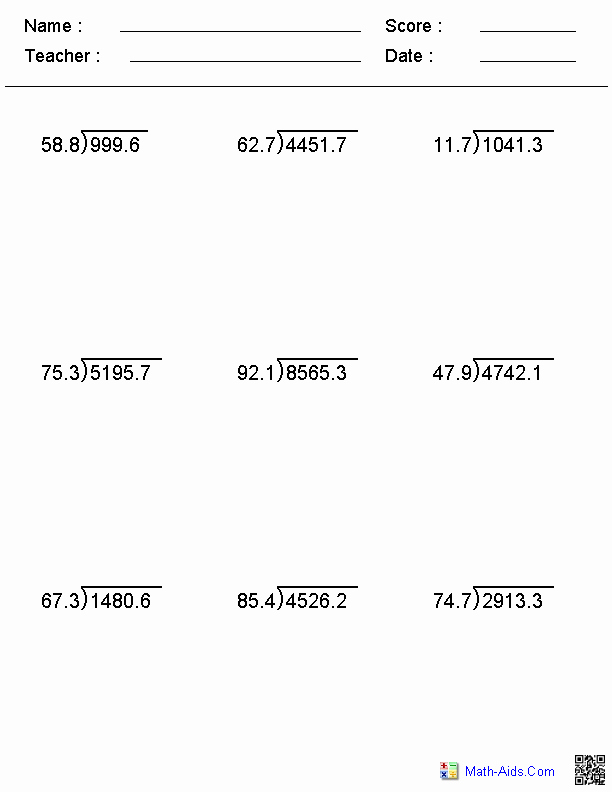 Dividing Decimals Worksheet Pdf Elegant Decimal Divisor Division Worksheets