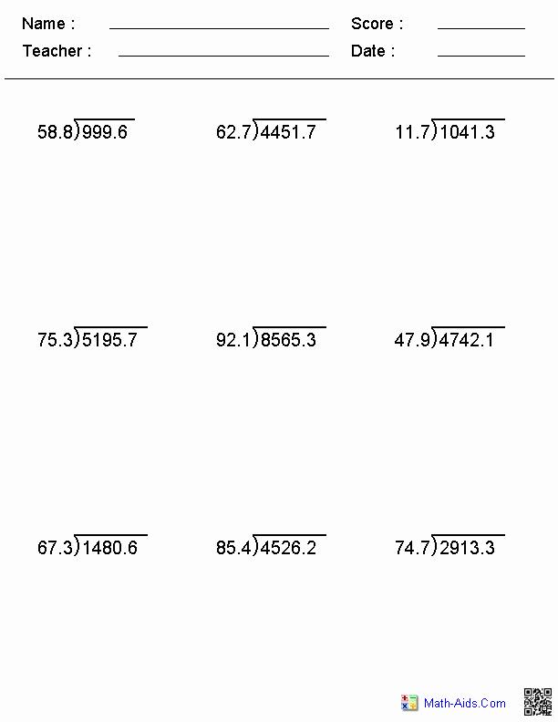 Dividing Decimals Worksheet Pdf Elegant Decimal Divisor Division Worksheets