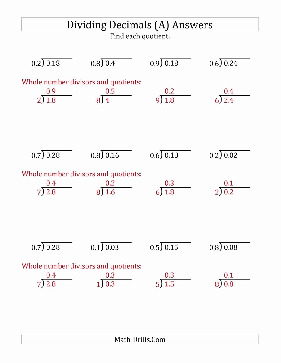 Dividing Decimals Worksheet Pdf Elegant Dividing Decimals by 1 Digit Tenths A