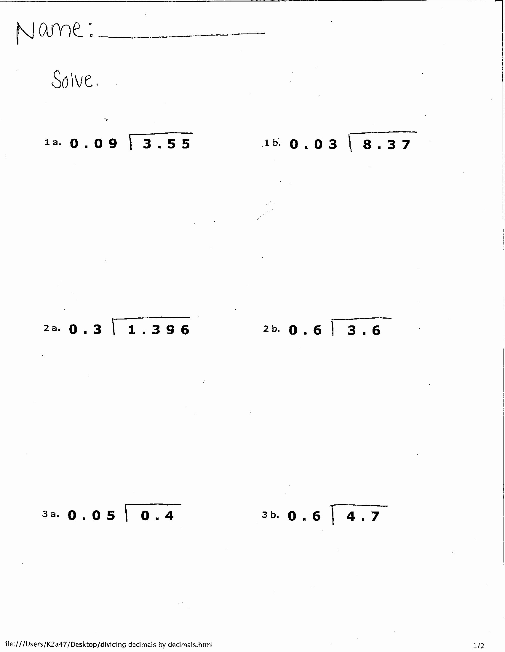 Dividing Decimals Worksheet Pdf Elegant World 2 Decimals Osky 6th Grade Math