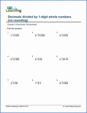 Dividing Decimals Worksheet Pdf Luxury Grade 5 Decimals Worksheet Dividing Decimals by whole