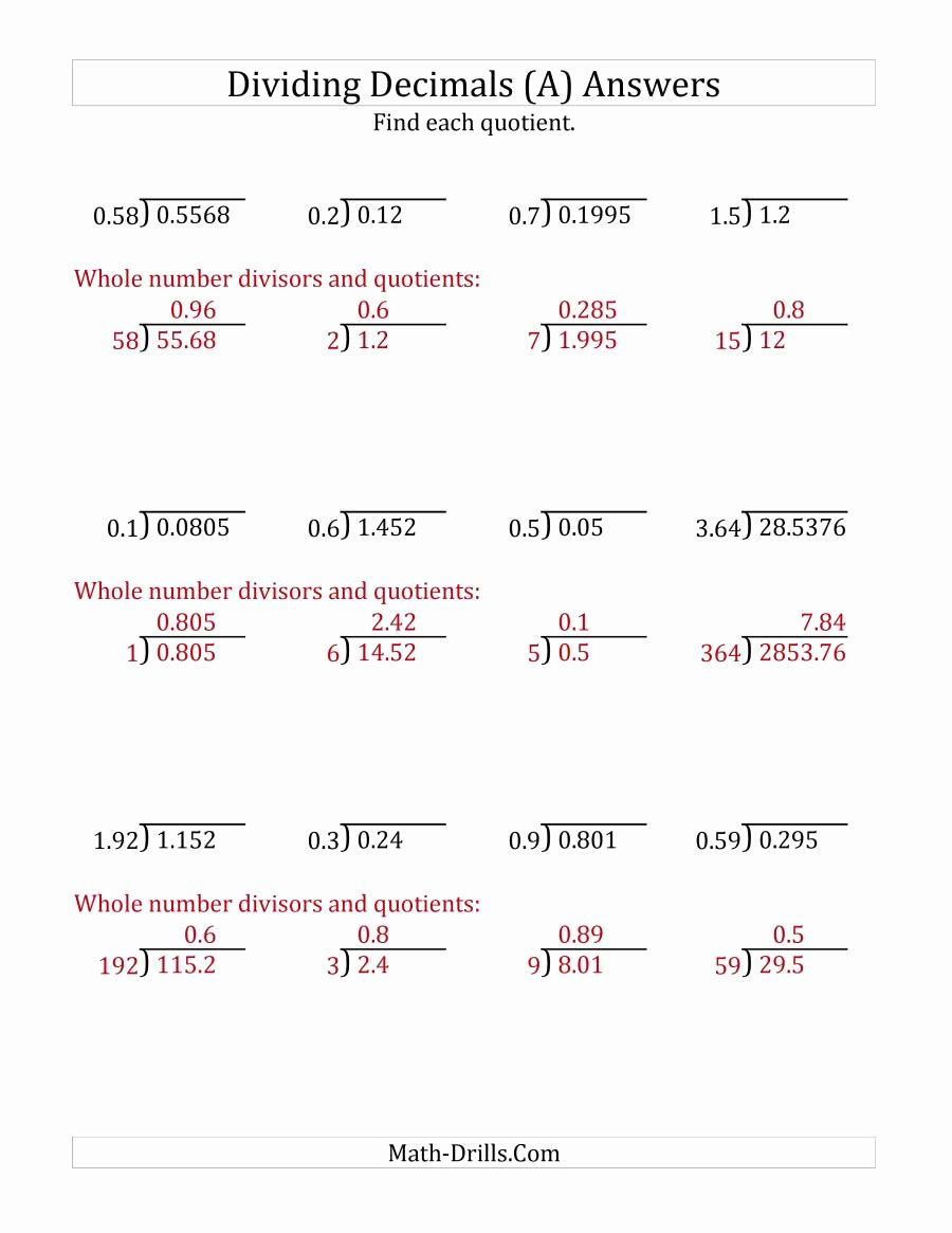 Dividing Decimals Worksheet Pdf New Dividing Decimals by Various Decimals with Various Sizes