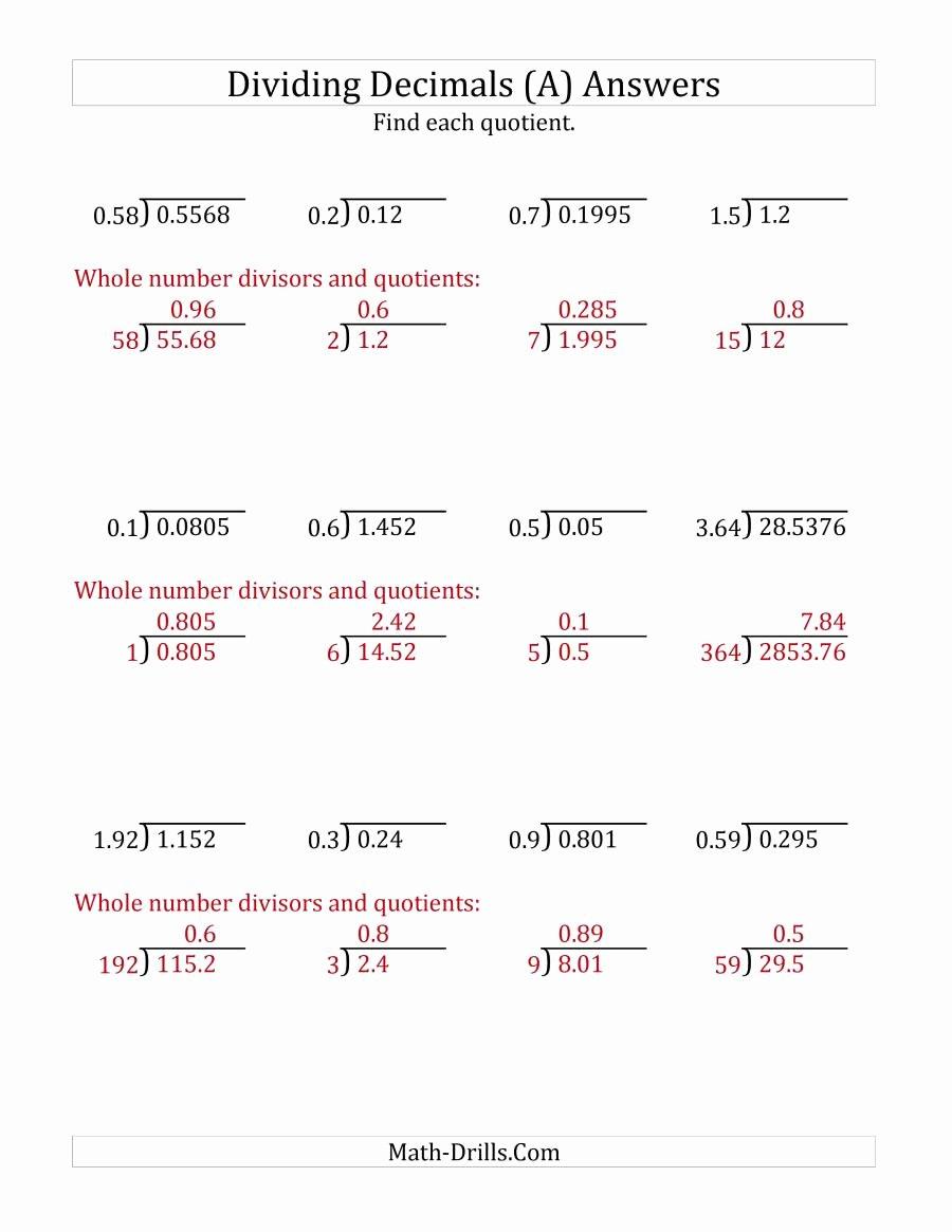 decimals division various various 001