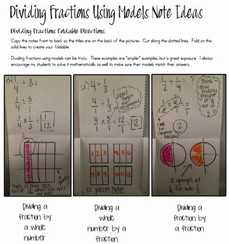 Dividing Fractions Using Models Worksheet Elegant Dividing Fractions Using Models Foldable by Create Love