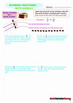 Dividing Fractions Using Models Worksheet Elegant Dividing Fractions with Models Poster Anchor Cards