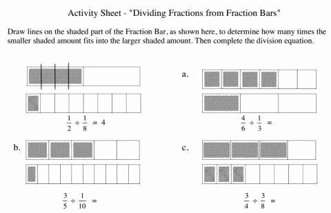 Dividing Fractions Using Models Worksheet Fresh Fraction Bars Worksheet Fraction Barsfraction