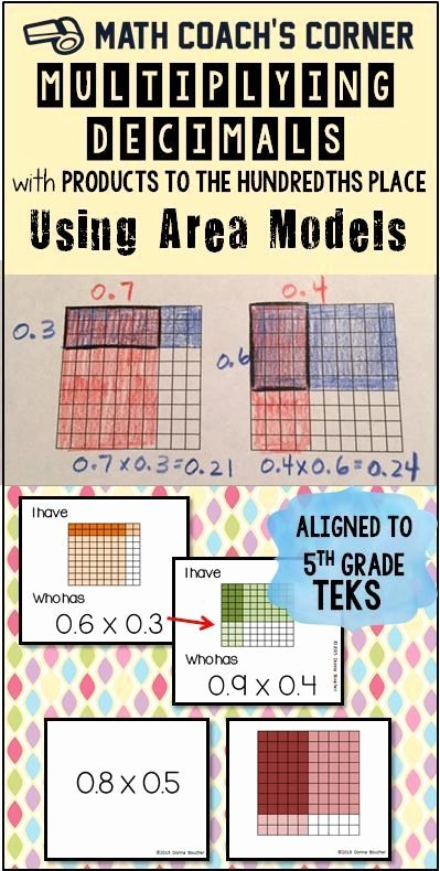 Dividing Fractions Using Models Worksheet Fresh Multiplying Decimals with Products to the Hundredths Using