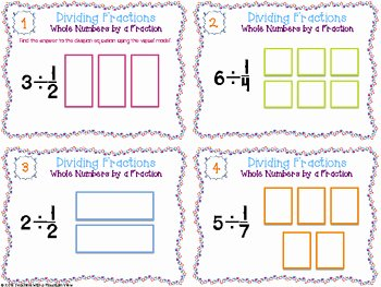 Dividing Fractions Using Models Worksheet Inspirational Dividing Fractions Task Cards by Teaching with A Mountain