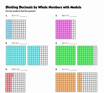 Dividing Fractions Using Models Worksheet Unique Dividing Decimals by whole Numbers Using Models Practice