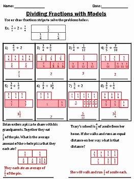Dividing Fractions Using Models Worksheet Unique Dividing Fractions Using Fraction Strip Models by Eli