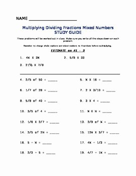 Dividing Mixed Numbers Worksheet Beautiful Multiplying Dividing Fractions Mixed Numbers Worksheet
