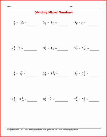 Dividing Mixed Numbers Worksheet Best Of Basic Facts Fractions Worksheets Worksheetsdirect