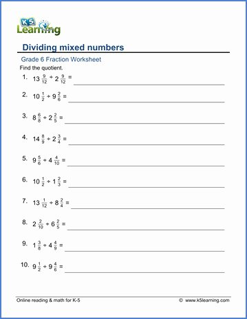 Dividing Mixed Numbers Worksheet Fresh Multiplying Fractions and Mixed Numbers Grade 5 Worksheet