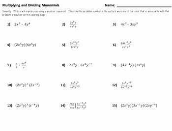 Dividing Polynomials by Monomials Worksheet Awesome Color by Number Multiplying and Dividing Monomials by Dr