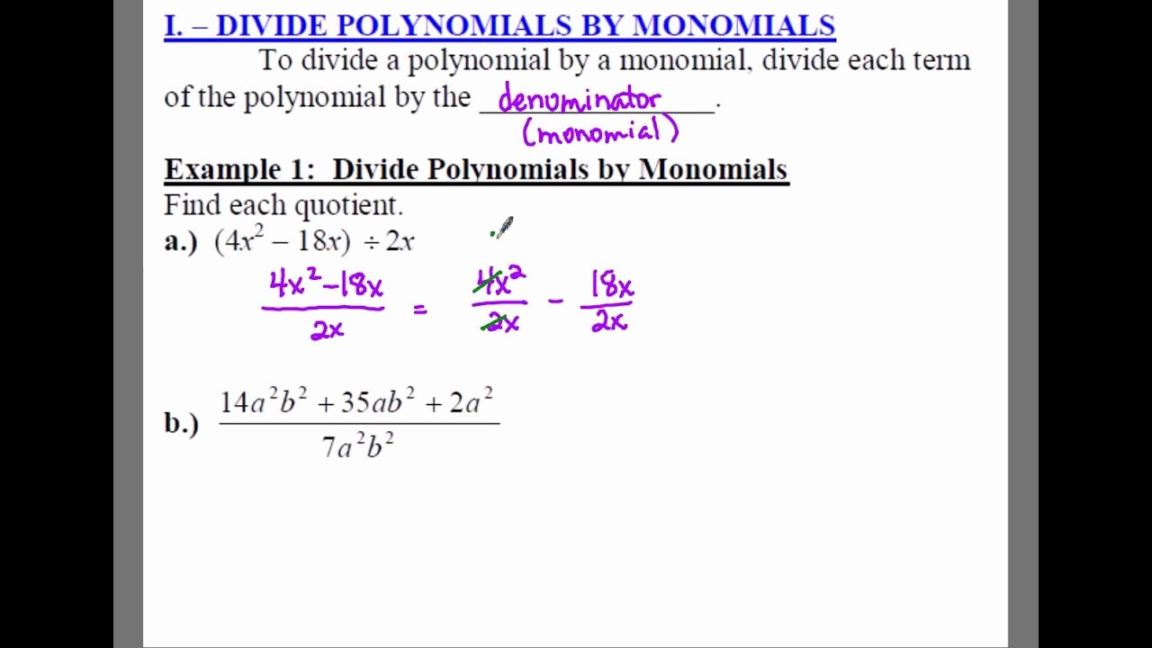 Dividing Polynomials by Monomials Worksheet Lovely Worksheet Monomial Worksheets Grass Fedjp Worksheet