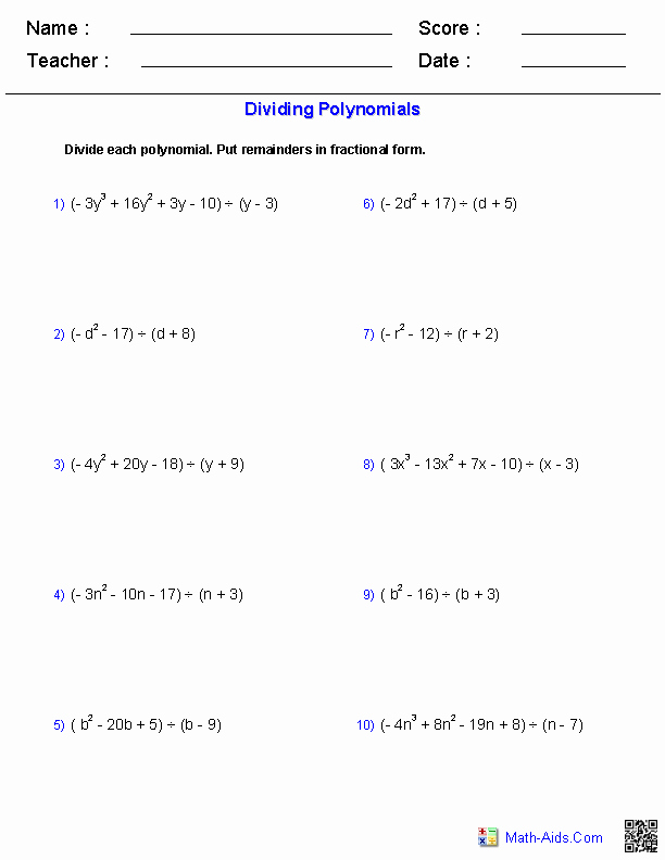 Dividing Polynomials Worksheet Answers Awesome Algebra 1 Worksheets