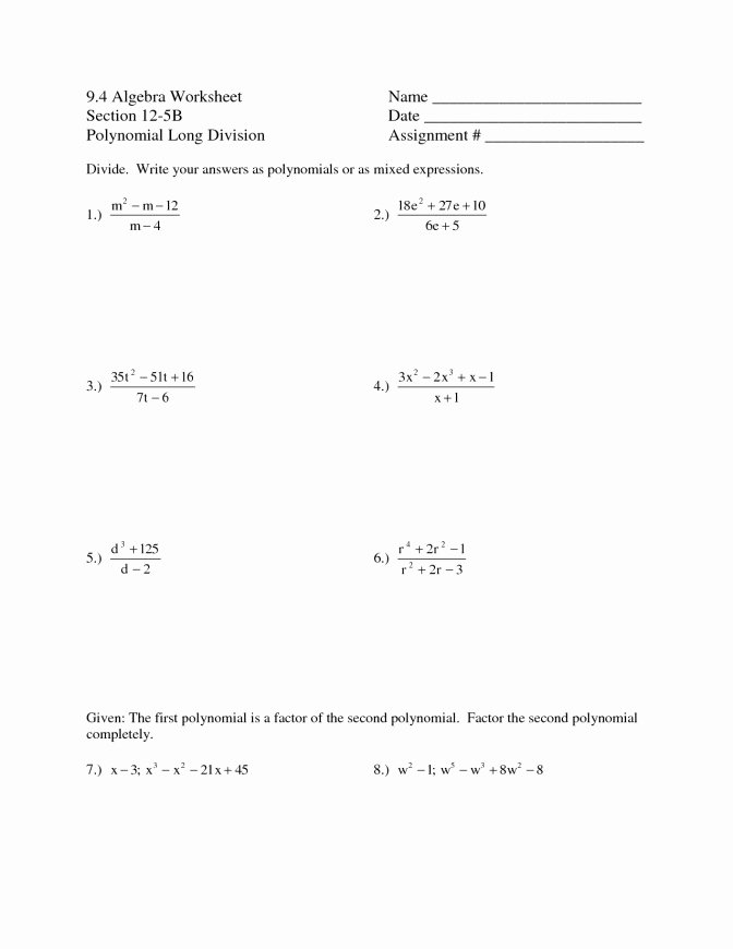Dividing Polynomials Worksheet Answers Awesome Polynomial Worksheets