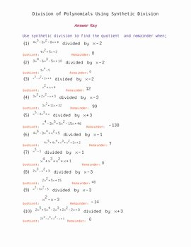 Dividing Polynomials Worksheet Answers Best Of Dividing Polynomials Using Synthetic Division Worksheet