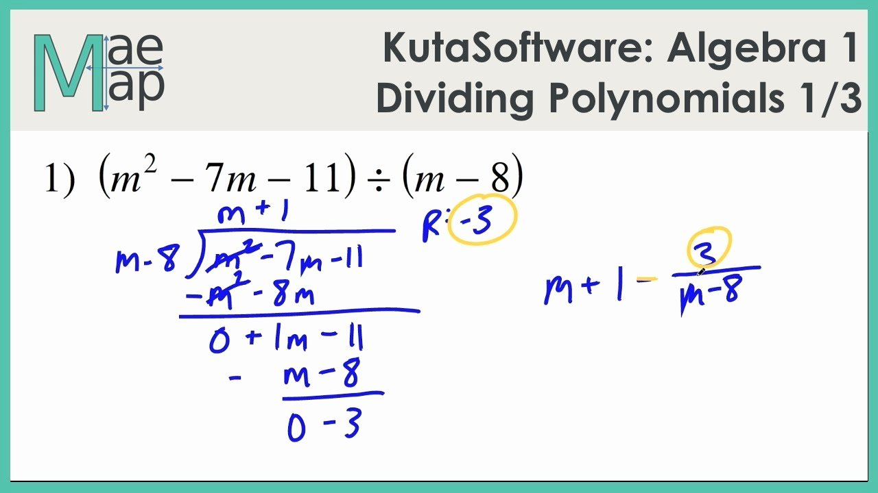 Dividing Polynomials Worksheet Answers Lovely Kutasoftware Algebra 1 Dividing Polynomials Part 1