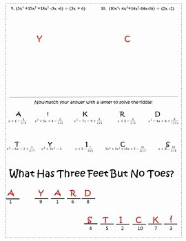 Dividing Polynomials Worksheet Answers Lovely Synthetic Division Worksheet Activity Dividing