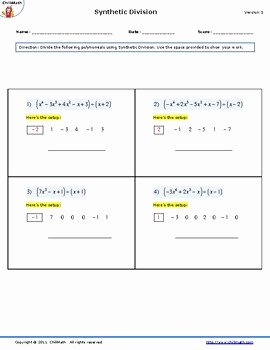 Dividing Polynomials Worksheet Answers Luxury Algebra Corner Teaching Resources