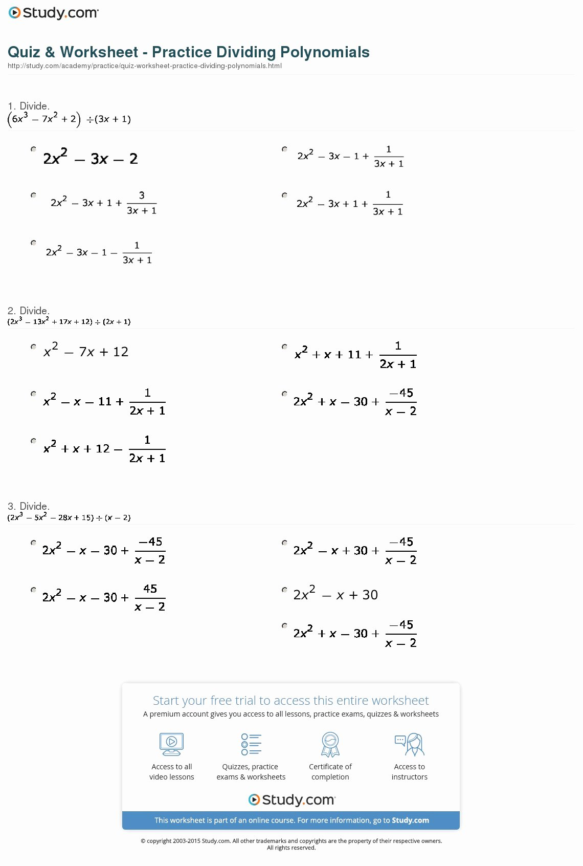 Dividing Polynomials Worksheet Answers New Quiz & Worksheet Practice Dividing Polynomials