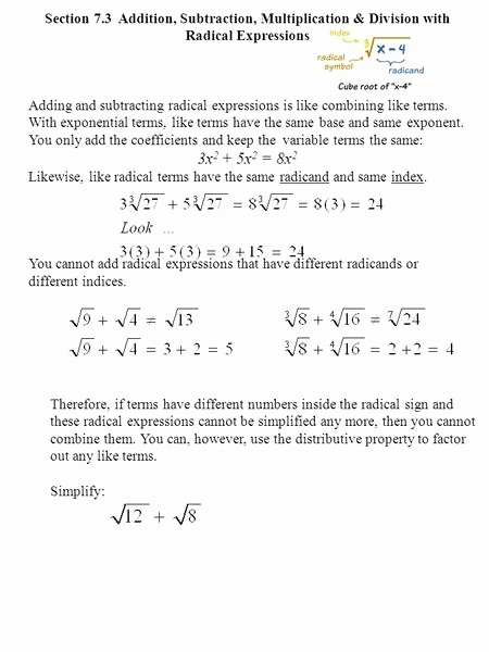 Dividing Radical Expressions Worksheet Awesome Multiplying and Dividing Radical Expressions Worksheet 11