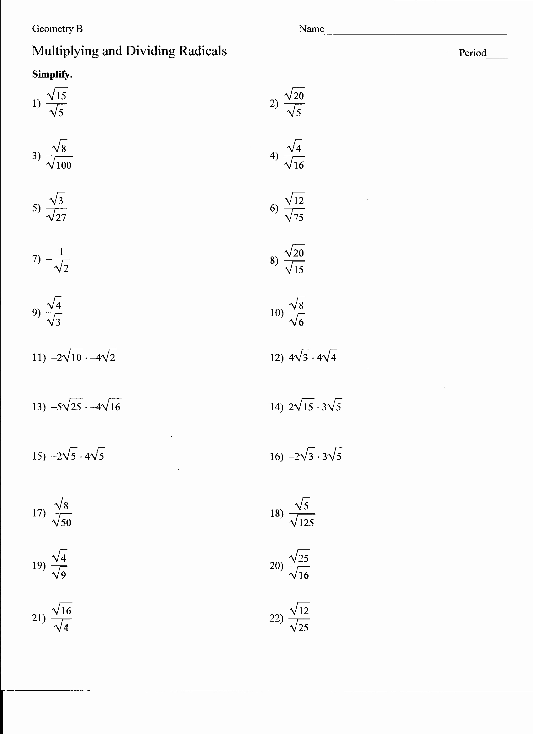 Dividing Radical Expressions Worksheet Best Of 19 Best Of Multiplying and Dividing Radicals