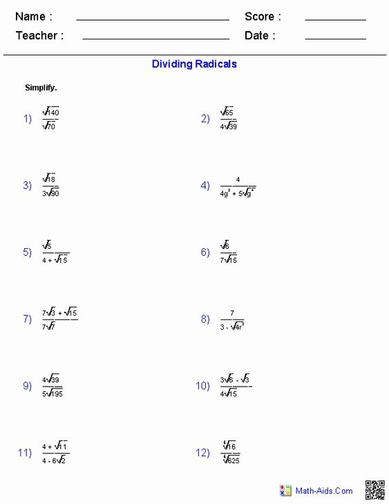 Dividing Radical Expressions Worksheet Best Of Worksheets On Pinterest