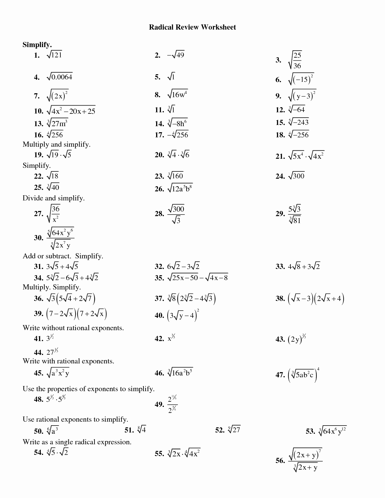 Dividing Radical Expressions Worksheet Elegant 19 Best Of Multiplying and Dividing Radicals