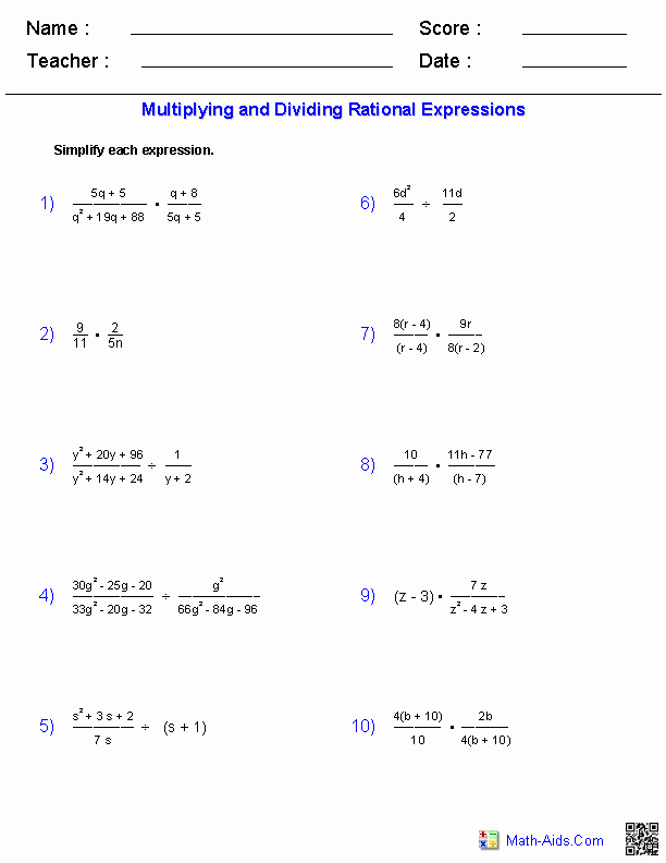 Dividing Rational Expressions Worksheet Fresh Algebra 2 Worksheets